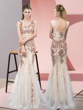 Floor Length Champagne Dress for Prom Tulle Sleeveless Sequins