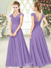 Adorable Lavender Empire V-neck Cap Sleeves Chiffon Ankle Length Zipper Lace Prom Gown