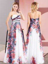 White Lace Up Sweetheart Pattern Prom Party Dress Chiffon Sleeveless