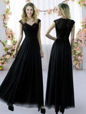 Extravagant Lace Damas Dress Black Zipper Cap Sleeves Floor Length