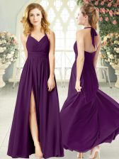 Discount Floor Length Empire Sleeveless Purple Prom Evening Gown Backless