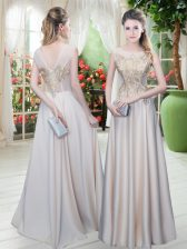 Decent Satin Sleeveless Floor Length Prom Dress and Appliques