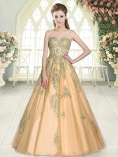 Great Peach Tulle Lace Up Dress for Prom Sleeveless Floor Length Appliques
