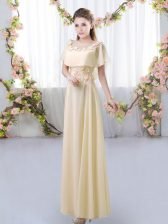 Light Yellow Short Sleeves Appliques Floor Length Quinceanera Court of Honor Dress