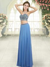 Blue Two Pieces Beading Backless Chiffon Sleeveless Floor Length