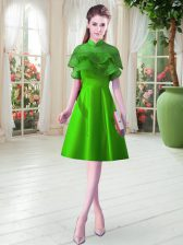 Ruffled Layers Prom Dresses Green Lace Up Cap Sleeves Knee Length