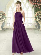 Amazing Purple Backless Prom Dress Lace Sleeveless Ankle Length