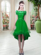 Green Off The Shoulder Neckline Appliques Prom Gown Short Sleeves Lace Up