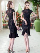 Delicate Short Sleeves Lace Zipper Evening Dress