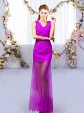 Colorful Tulle V-neck Sleeveless Lace Up Lace Dama Dress in Purple