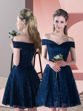 Off The Shoulder Sleeveless Prom Gown Mini Length Lace Navy Blue