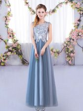 Blue Lace Up Scoop Lace Quinceanera Court of Honor Dress Tulle Sleeveless
