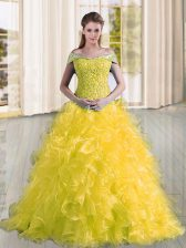Excellent Yellow Lace Up Sweet 16 Quinceanera Dress Beading and Lace and Ruffles Sleeveless Sweep Train
