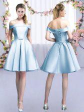 Light Blue A-line Belt Vestidos de Damas Lace Up Satin Sleeveless Mini Length