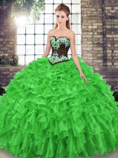 Latest Sweetheart Sleeveless Quinceanera Gown Sweep Train Embroidery and Ruffles Organza