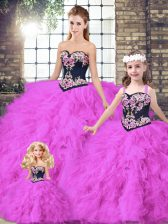 Fuchsia Tulle Lace Up Sweetheart Sleeveless Floor Length Sweet 16 Dress Beading and Embroidery