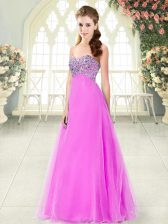 Glittering Pink Lace Up Sweetheart Beading Homecoming Dress Tulle Sleeveless