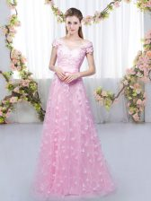 Rose Pink Empire Tulle Off The Shoulder Cap Sleeves Appliques Floor Length Lace Up Dama Dress