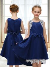 Free and Easy High Low Navy Blue Flower Girl Dresses for Less Satin Sleeveless Lace and Bowknot