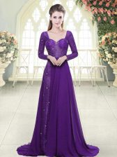 Classical A-line Long Sleeves Eggplant Purple Prom Gown Sweep Train Backless