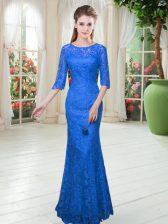 Super Floor Length Royal Blue Prom Dress Half Sleeves Lace