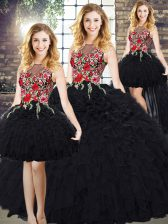 Simple Organza Scoop Sleeveless Zipper Embroidery and Ruffles 15 Quinceanera Dress in Black