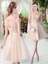 Champagne Short Sleeves Appliques Mini Length Prom Dress