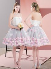 Stylish Grey Tulle Lace Up Strapless Sleeveless Mini Length Homecoming Dress Appliques
