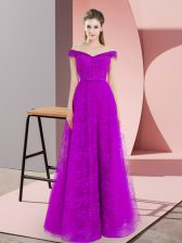 Floor Length A-line Sleeveless Purple Prom Dress Lace Up