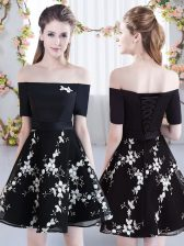 Black Short Sleeves Mini Length Appliques Lace Up Court Dresses for Sweet 16