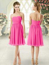 Knee Length Pink Prom Dresses Strapless Sleeveless Zipper