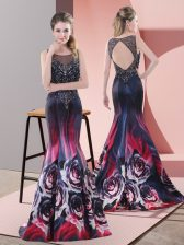 Eye-catching Beading Evening Dress Multi-color Backless Sleeveless Sweep Train