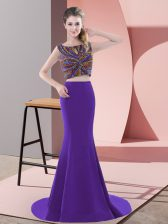 Purple Two Pieces Satin Scoop Sleeveless Beading Backless Dress for Prom Sweep Train
