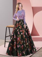 Nice Multi-color A-line Printed Scoop Long Sleeves Appliques Lace Up Prom Gown Sweep Train