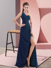 Vintage Navy Blue Chiffon Backless Prom Dresses Sleeveless Sweep Train Beading and Ruching