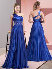 Royal Blue Chiffon Backless Prom Dresses Sleeveless Floor Length Beading and Ruching