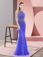 Traditional Blue Homecoming Dress Prom and Party and Military Ball with Beading Halter Top Sleeveless Sweep Train Backless