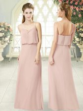 Dazzling Pink Prom Party Dress Prom and Party with Ruching Spaghetti Straps Sleeveless Zipper