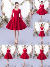 Knee Length A-line 3 4 Length Sleeve Red Quinceanera Court of Honor Dress Zipper