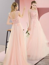 Pink Sleeveless Floor Length Beading and Lace and Appliques Lace Up Dress for Prom