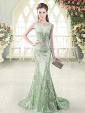 Apple Green Sleeveless Sequined Brush Train Zipper Prom Party Dress for Prom and Party and Military Ball