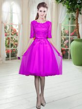 Cheap Empire Dress for Prom Fuchsia Scoop Tulle Half Sleeves Knee Length Lace Up
