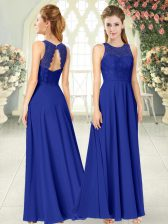 Unique Floor Length Royal Blue Evening Dress Chiffon Sleeveless Lace