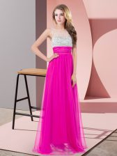 Exquisite Fuchsia Empire Scoop Sleeveless Chiffon Floor Length Side Zipper Sequins Homecoming Dress