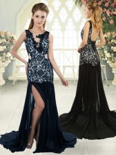 Fitting Chiffon Sleeveless Prom Dresses Brush Train and Lace
