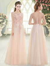 Pink Tulle Zipper Scoop Sleeveless Floor Length Dress for Prom Beading and Lace and Appliques
