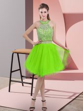 Prom and Party with Beading Halter Top Sleeveless Backless