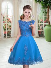 Admirable Knee Length A-line Sleeveless Blue Evening Dress Lace Up