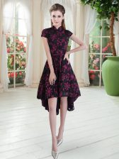 Flirting Pink And Black Lace Zipper High-neck Short Sleeves High Low Prom Party Dress Appliques