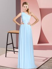 Glittering One Shoulder Sleeveless Lace Up Prom Dresses Blue Chiffon